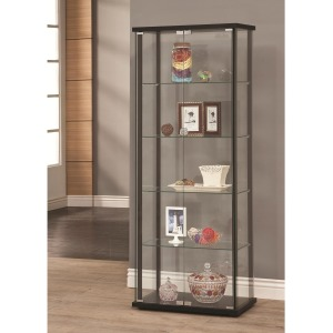 Curio Cabinets 5 Shelf Contemporary Glass Curio Cabinet