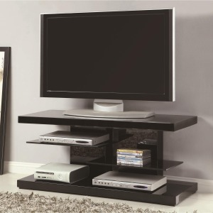 TV Stands Modern TV Stand with Alternating Glass Shelves