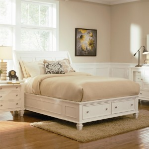 Sandy Beach White Eastern King Storage Bed