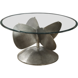 Glass Top Coffee Table Aged Metal