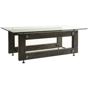 70427 Industrial Coffee Table with Tempered Glass Top