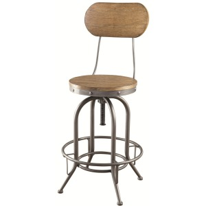 Bar Units and Bar Tables Adjustable Bar Stool with Wood Back and Seat