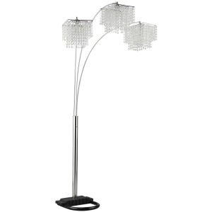 Floor Lamps Arc Floor Lamp with Poly Crystal Shades