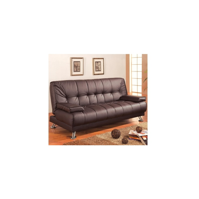 Sofa Beds Faux Leather Convertible Sofa Bed with Removable Armrests