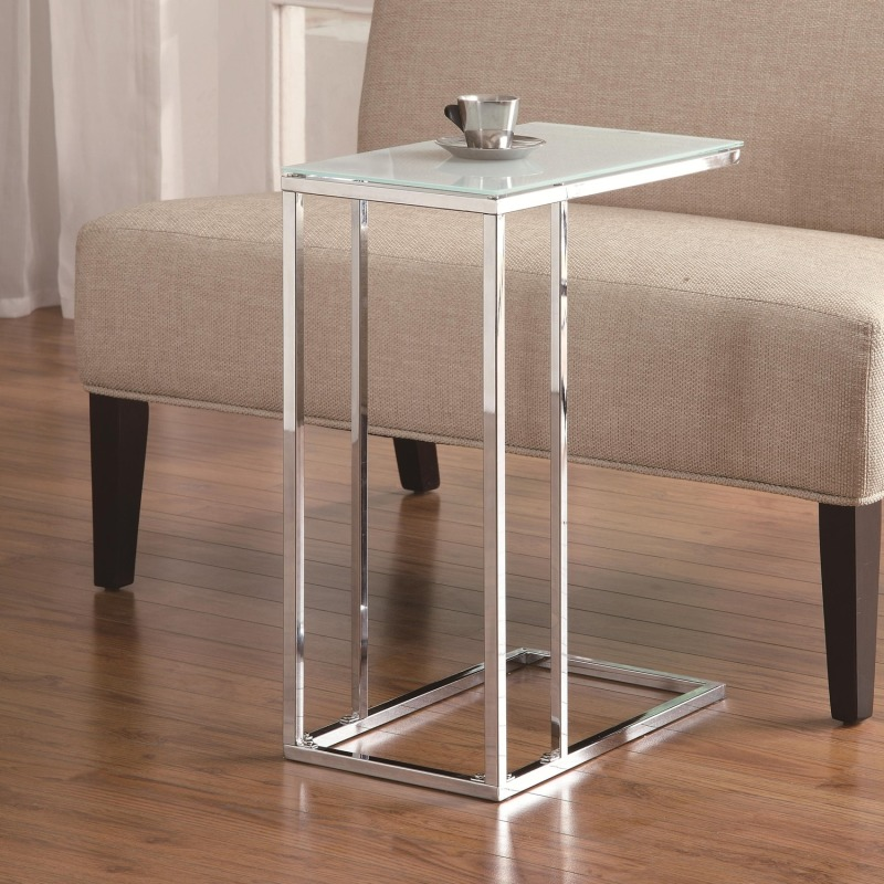 Accent Tables Chrome Snack Table with Frosted Tempered Glass Top