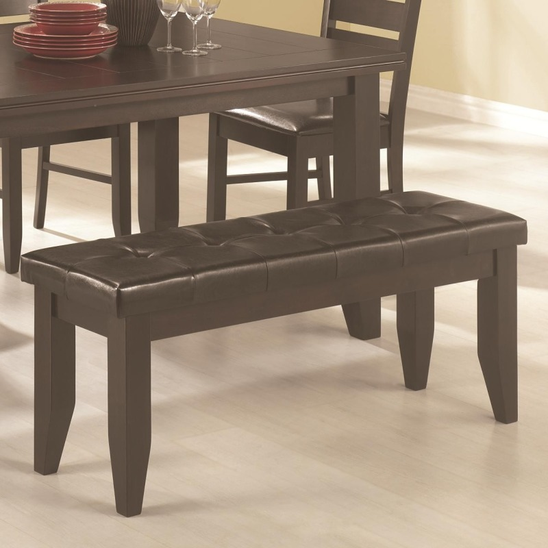 Page Contemporary Dining Bench with Tufted Upholstered Seat