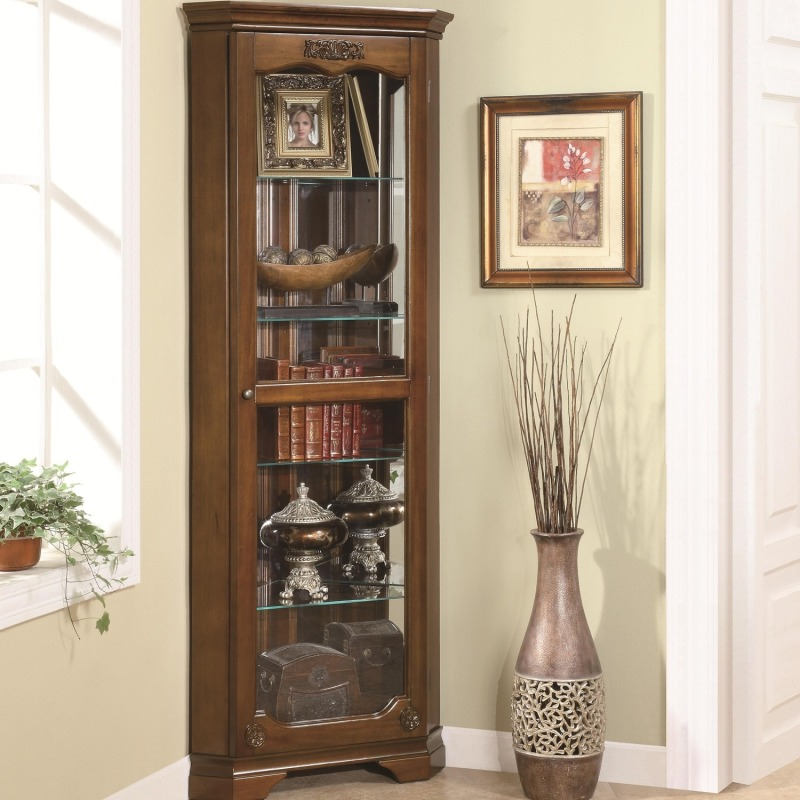 Curio Cabinets 5 Shelf Corner Curio with 1 Door & Acanthus Leaf Top