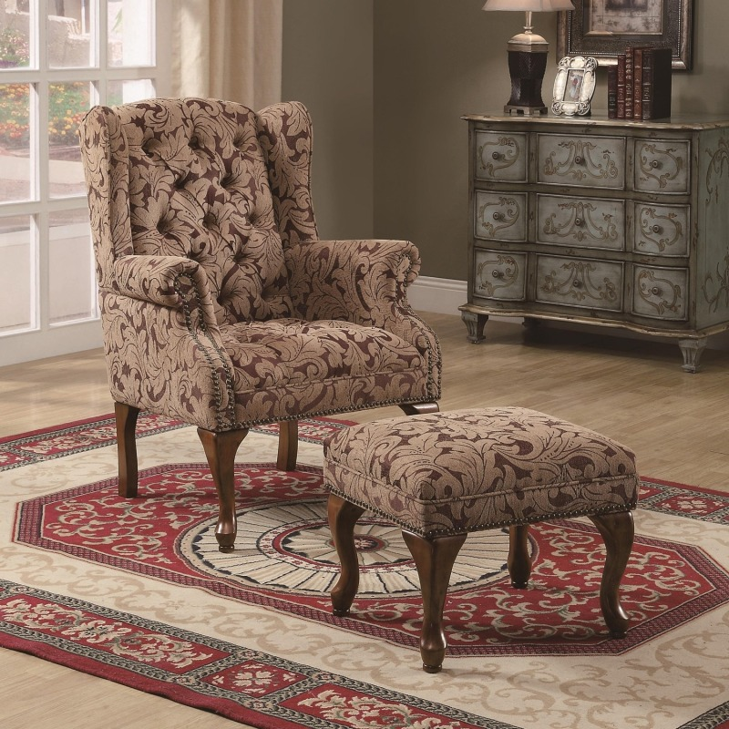 Accent Seating Traditional Tufted Wing Back Chair and Ottoman