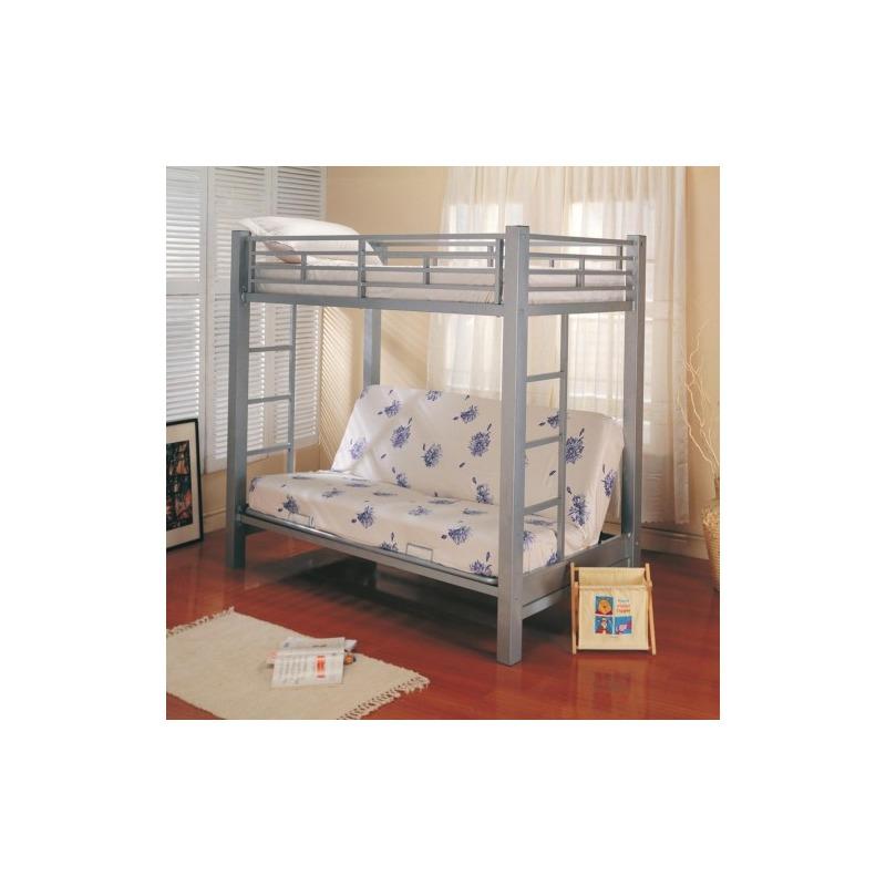 Bunks Twin Over Futon Metal Bunk Bed with Futon Mattress