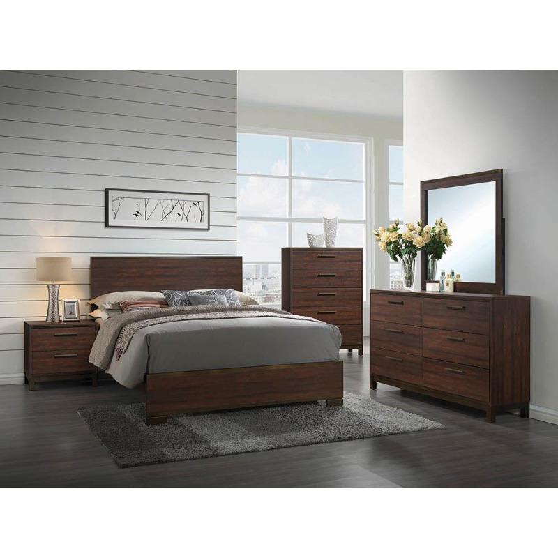 Edmonton California King Panel Bed - Rustic Tobacco