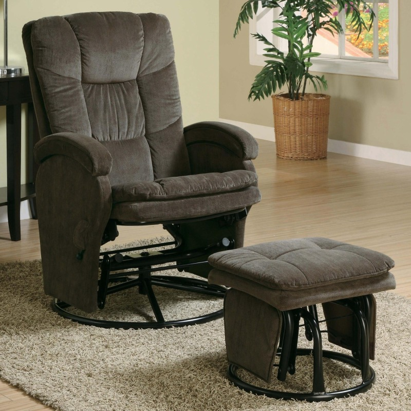 Recliners with Ottomans Casual Reclining Glider with Matching Ottoman