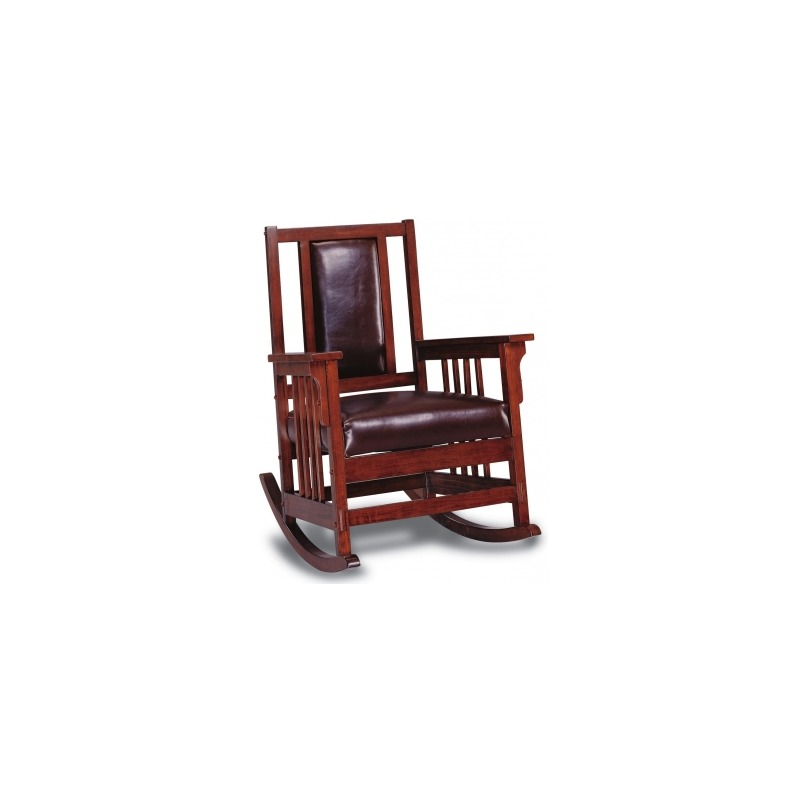 Rockers Mission Style Wood Rocker with Leather Match Seat and Back