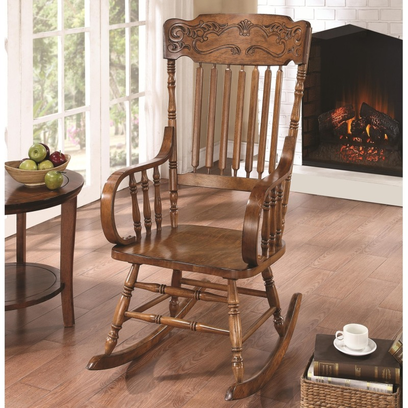 Rockers Wood Rocking Chair with Ornamental Headrest and Oak Finish