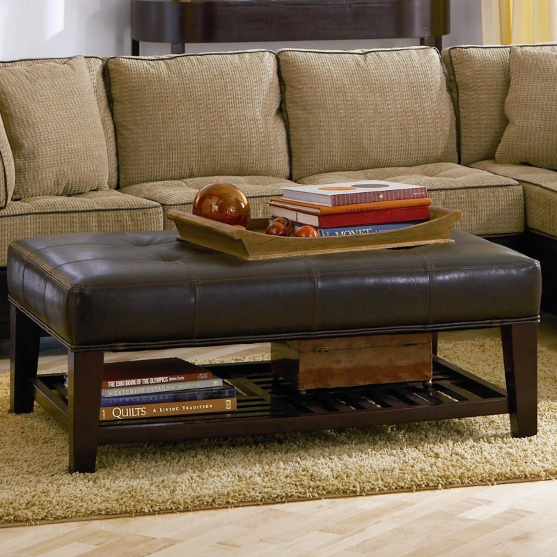 Ottomans Contemporary Faux Leather Tufted Ottoman with Storage Shelf