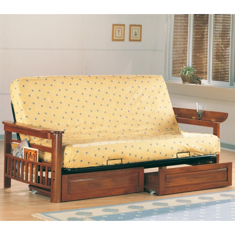 Futons Casual Futon Frame and Mattress with Flip Up Arms, Magazine Racks, and Storage Drawers