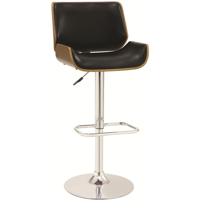 Bar Units and Bar Tables Adjustable Bar Stool with Black Upholstery and Wood Back