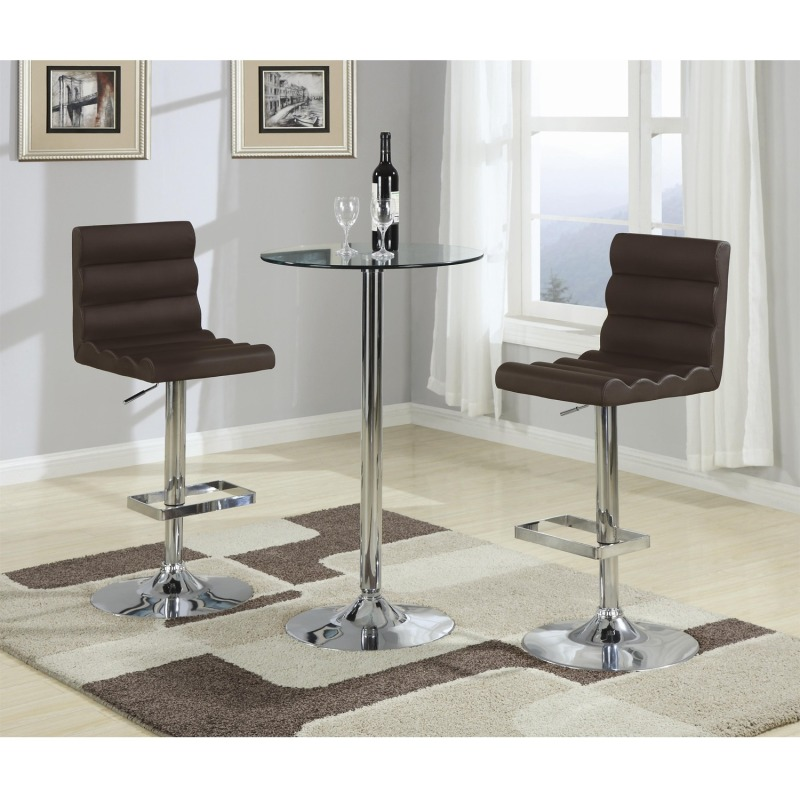 Bar Units and Bar Tables 3 Piece Bar Table with Tempered Glass Top Set