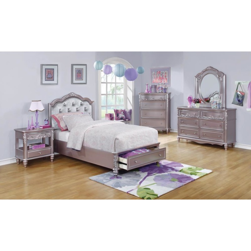 Caroline Metallic Lilac Twin Storage Bed