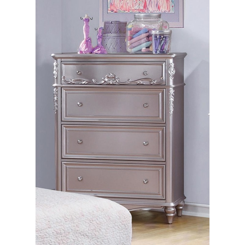 Caroline Metallic Lilac Four-Drawer Chest