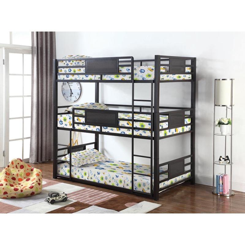 Casual Black Twin Triple Bunk Bed