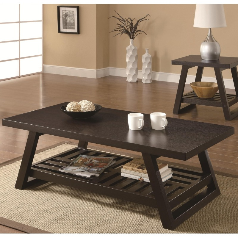 Occasional Group Casual Coffee Table with Slatted Bottom Shelf