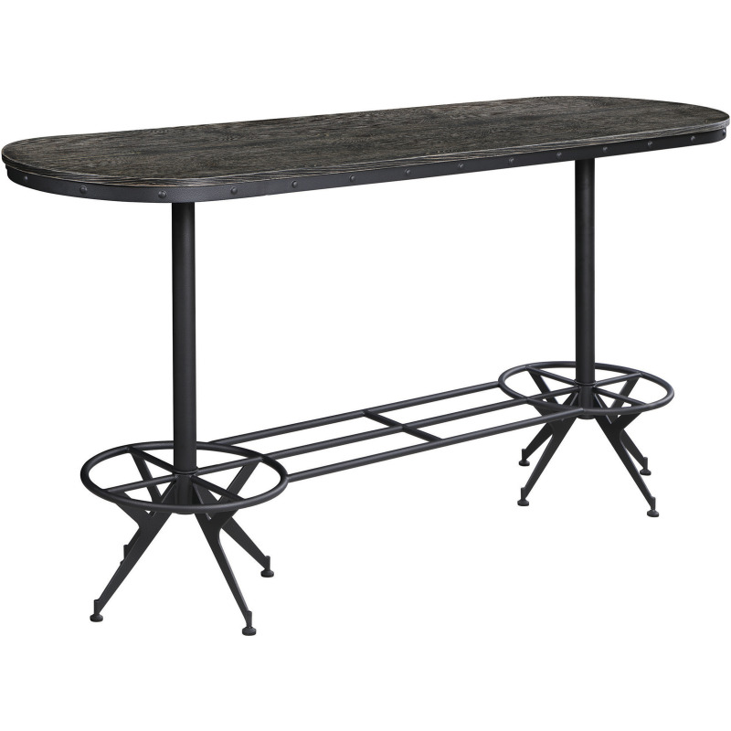 Oval Bar Table Wire Brushed Black