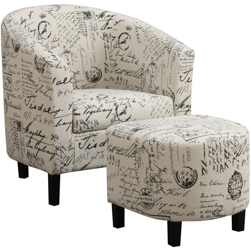 Accent Seating Two-Piece Accent Chair and Ottoman Set in French Script Pattern
