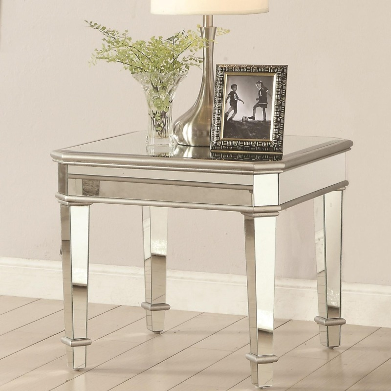 70393 Square Mirrored End Table