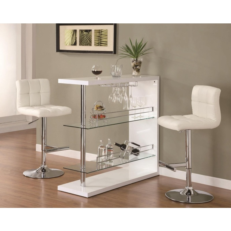 Bar Units and Bar Tables Sleek Contemporary Bar Set with Stools