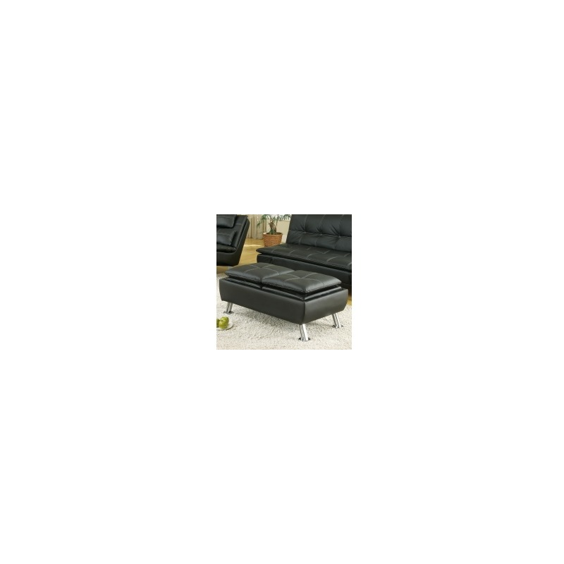Ottomans Faux Leather Ottoman with Reversible Tray Tops