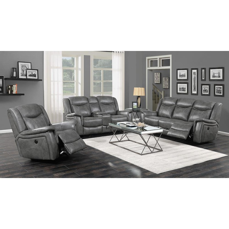 Conrad Transitional Grey Power Sofa
