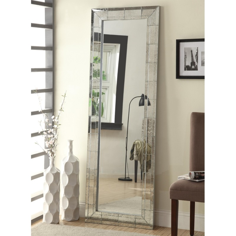 Accent Mirrors Floor Mirror with Antique Silver Finish Frame