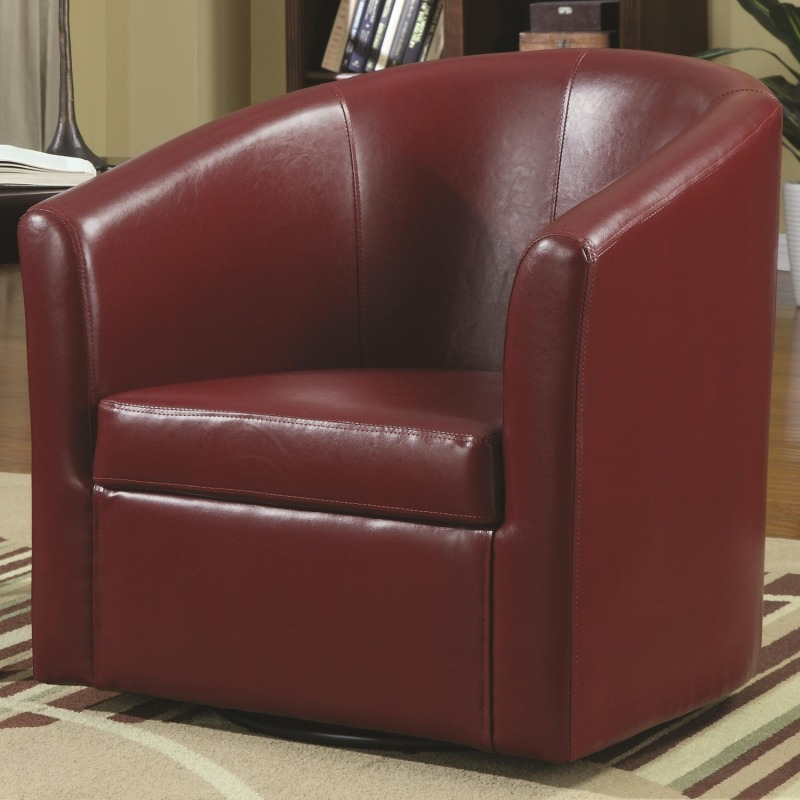 Accent Seating Contemporary Styled Accent Swivel Chair in Red Vinyl Upholstery