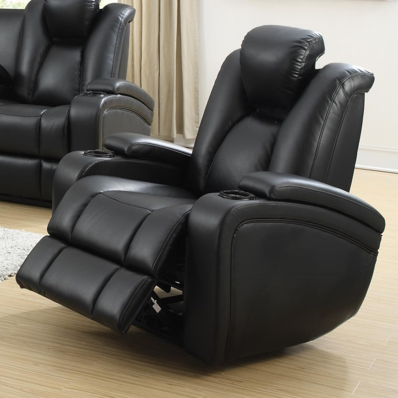 Coaster Delange Faux Leather Power Recliner in Black Home