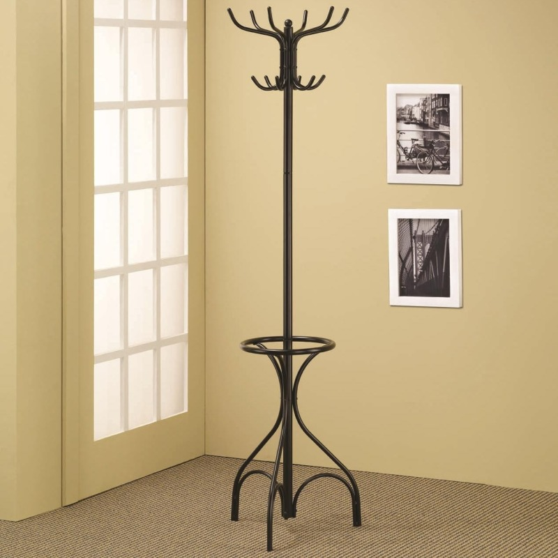 Accent Racks Black Metal Coat Rack with Umbrella Holder