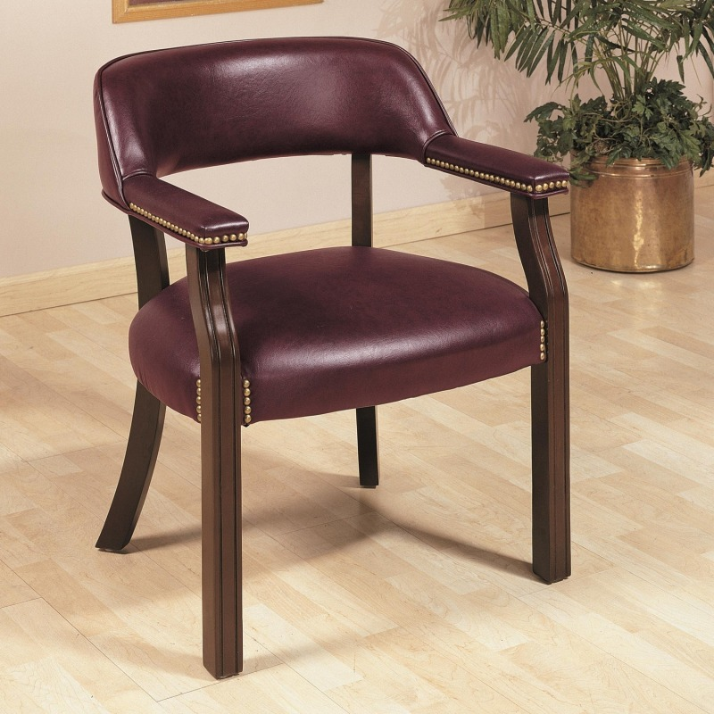 Office Chairs Traditional Upholstered Vinyl Side Chair with Nailhead Trim