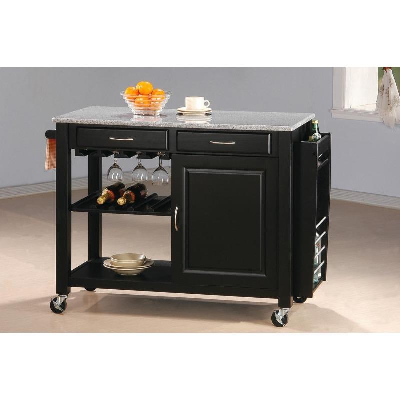 Kitchen Carts Kitchen Cart with Granite Top