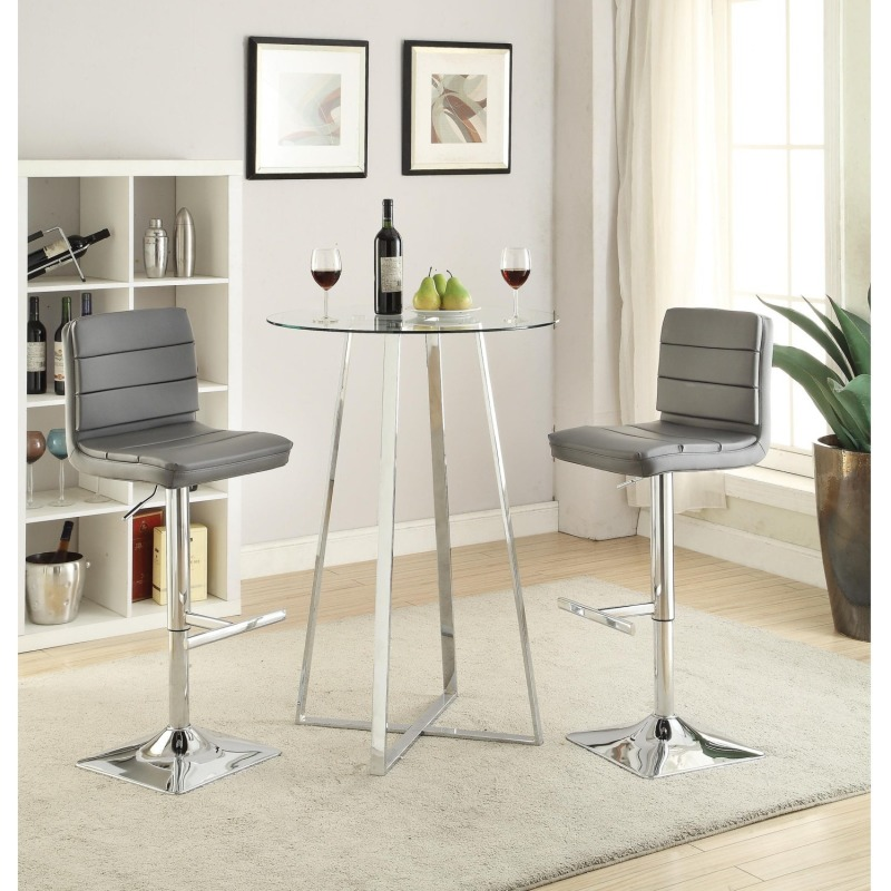 Bar Units and Bar Tables Glass Bar Height Dining Set