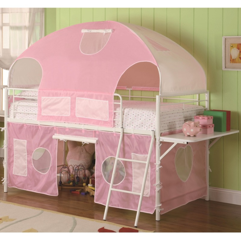 Bunks White & Pink Tent Bunk Bed