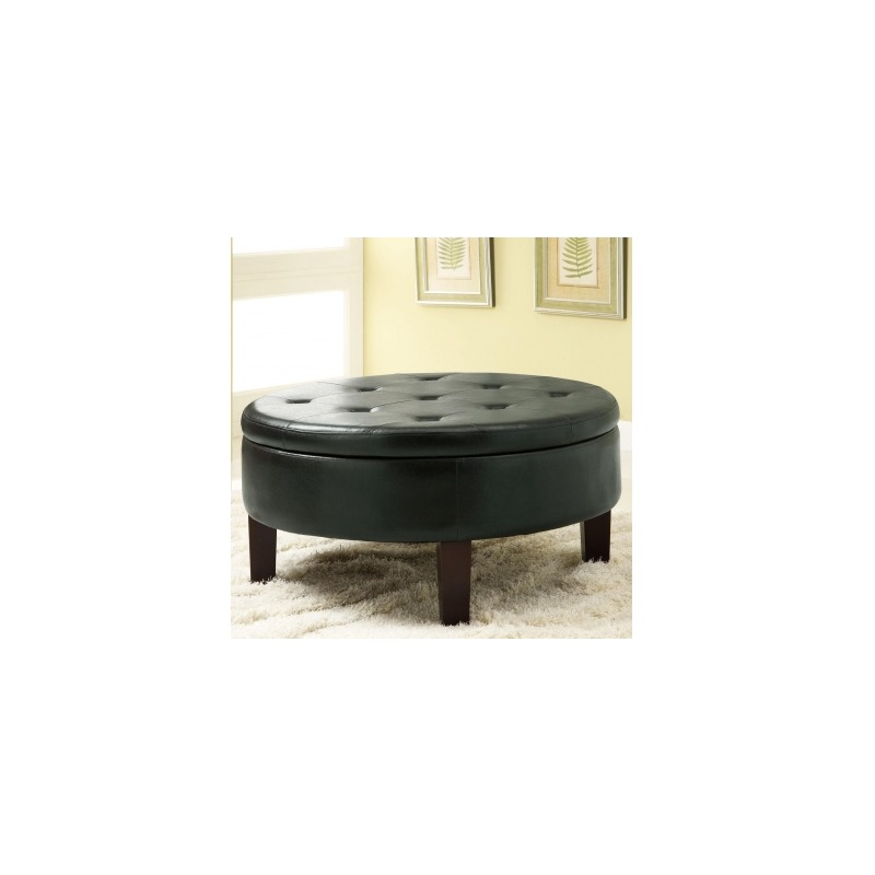 Ottomans Round Upholstered Storage Ottoman with Tufted Top