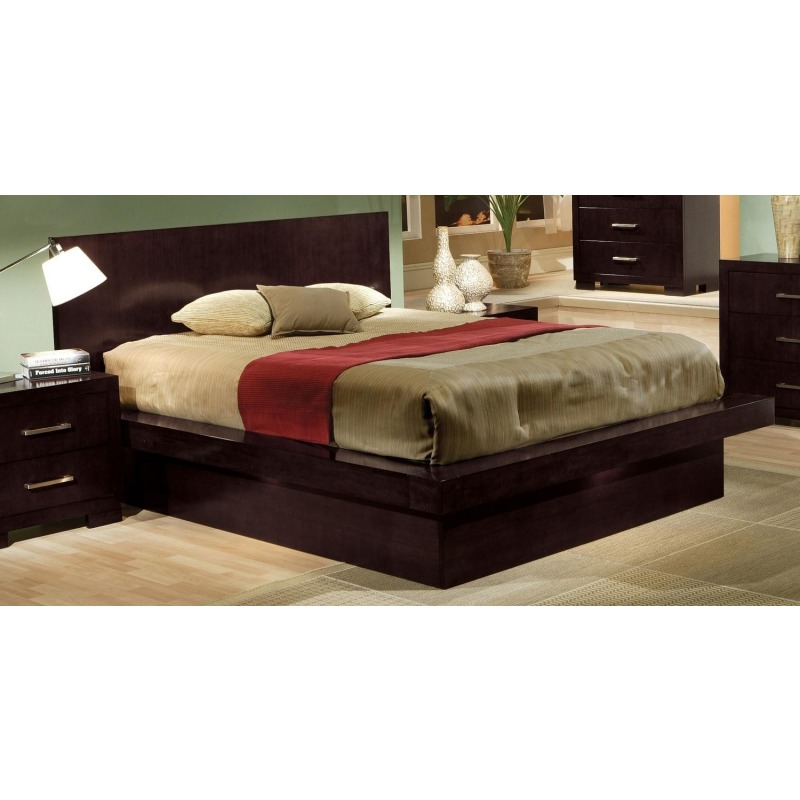 Jessica California King Platform Bed with Rail Seating and Lights