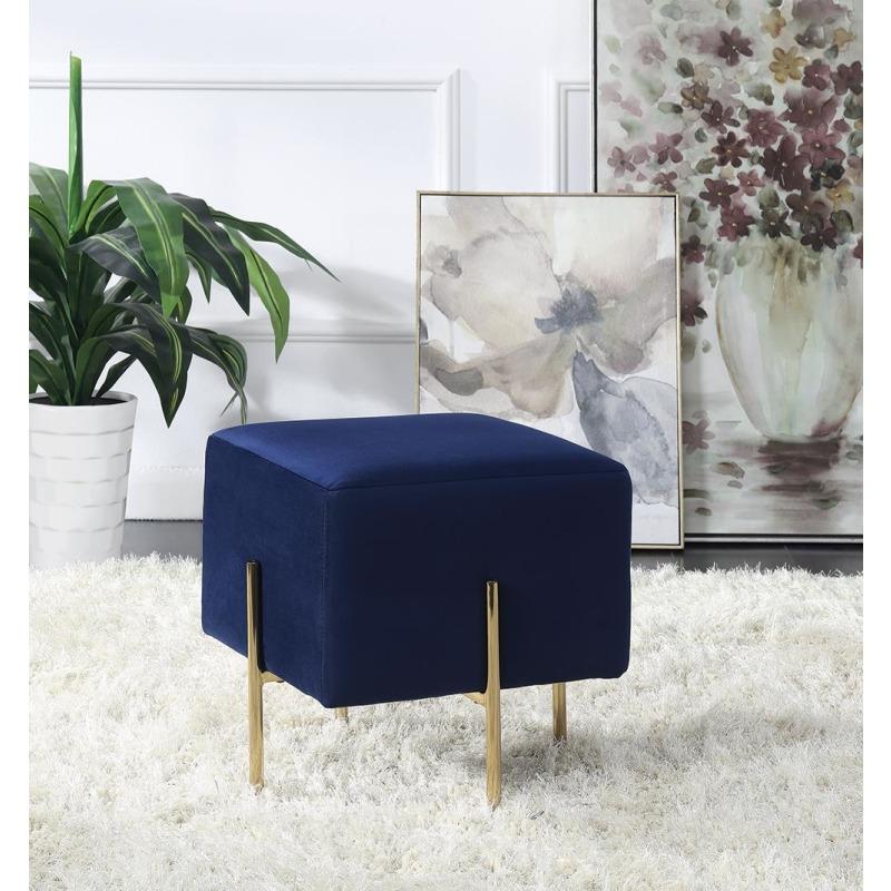 Modern Blue Velvet Ottoman