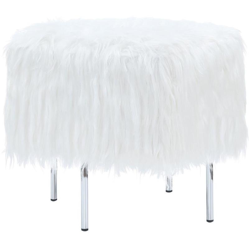 White Faux Sheepskin Ottoman