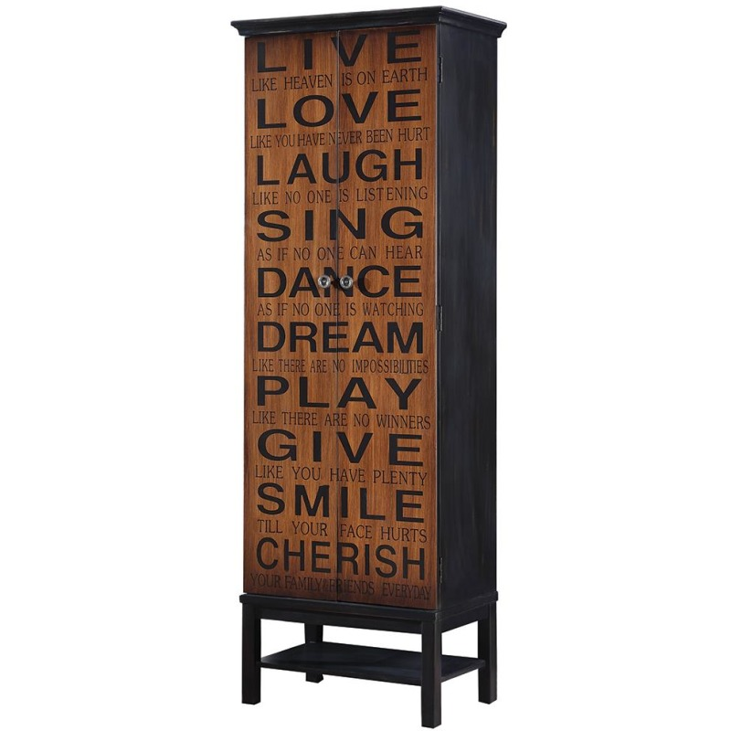Transitional Rich Brown and Black Accent Cabinet