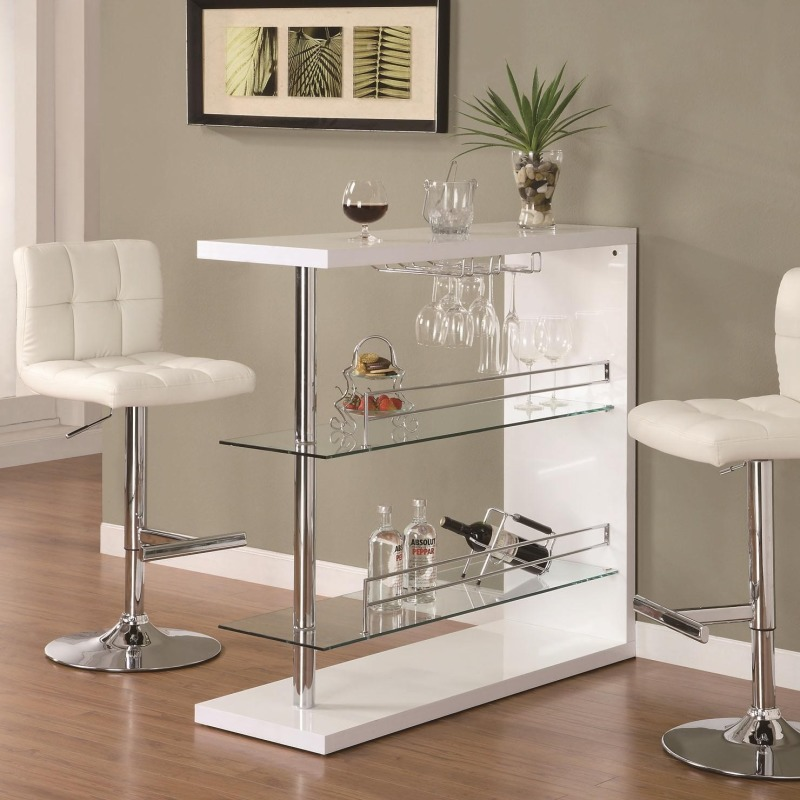 Bar Units and Bar Tables Rectangular Bar Unit with 2 Shelves and Wine Holder