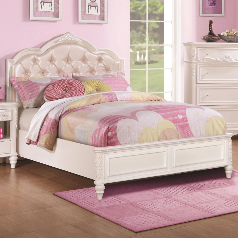 Caroline Twin Size Bed w/ Diamond Tufted Headboard