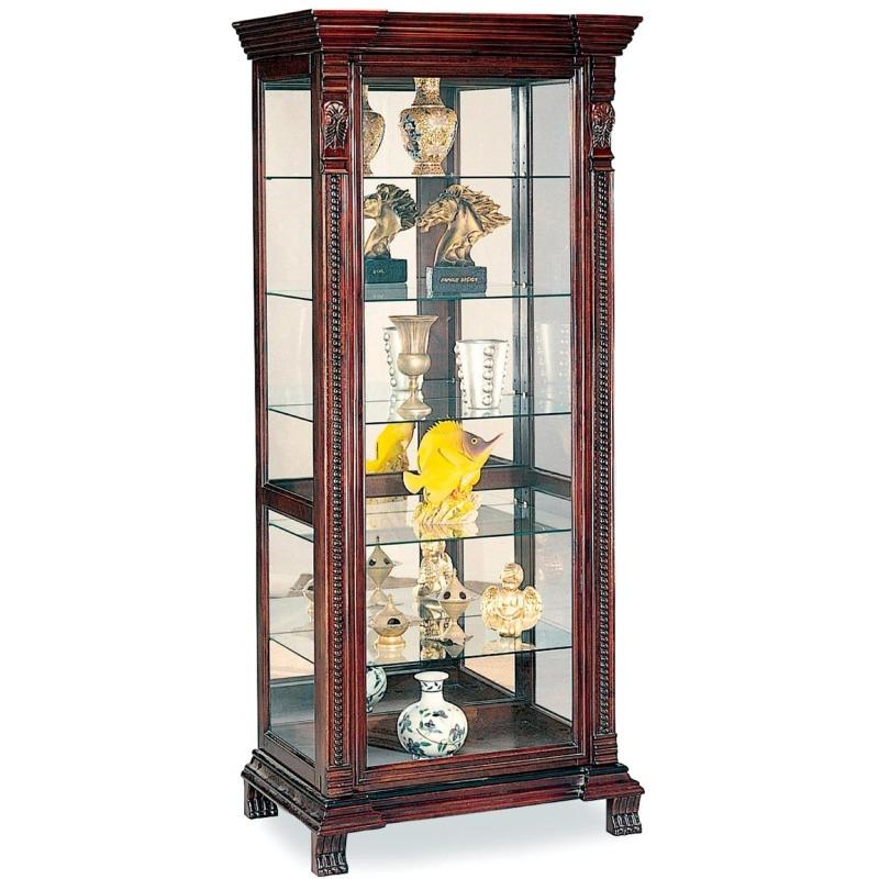 Curio Cabinets 6 Shelf Rectangular Curio Cabinet with Ornate Edges & Decorative Feet