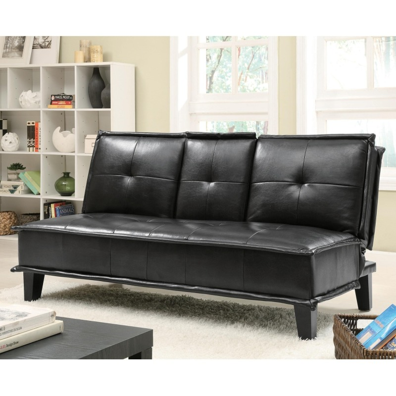 Sofa Beds Contemporary Black Vinyl Sofa Bed with Drop Down Table