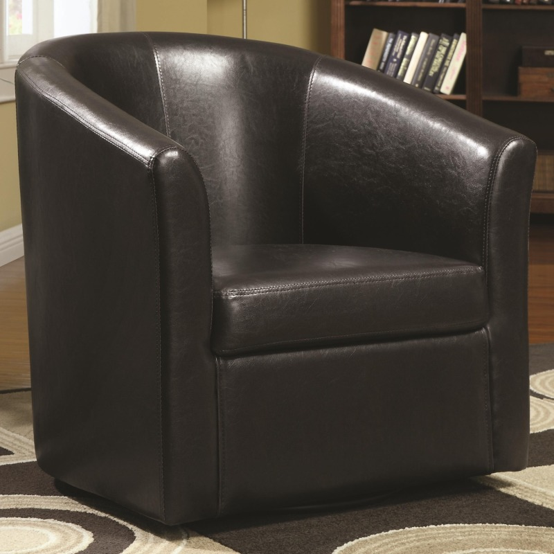 Accent Seating Contemporary Styled Accent Swivel Chair in Brown Vinyl Upholstery