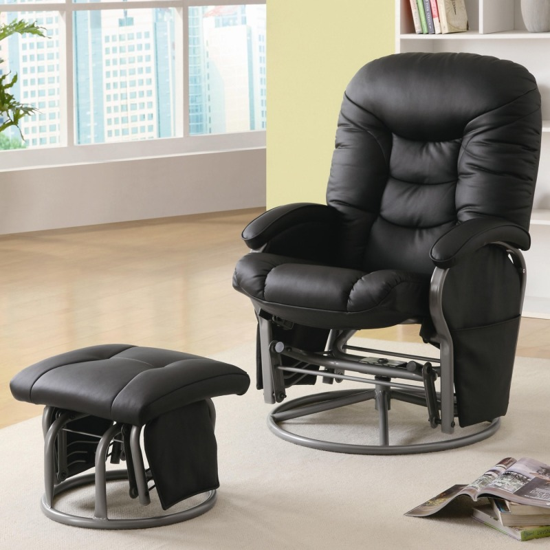Recliners with Ottomans Casual Leatherette Glider Recliner with Matching Ottoman